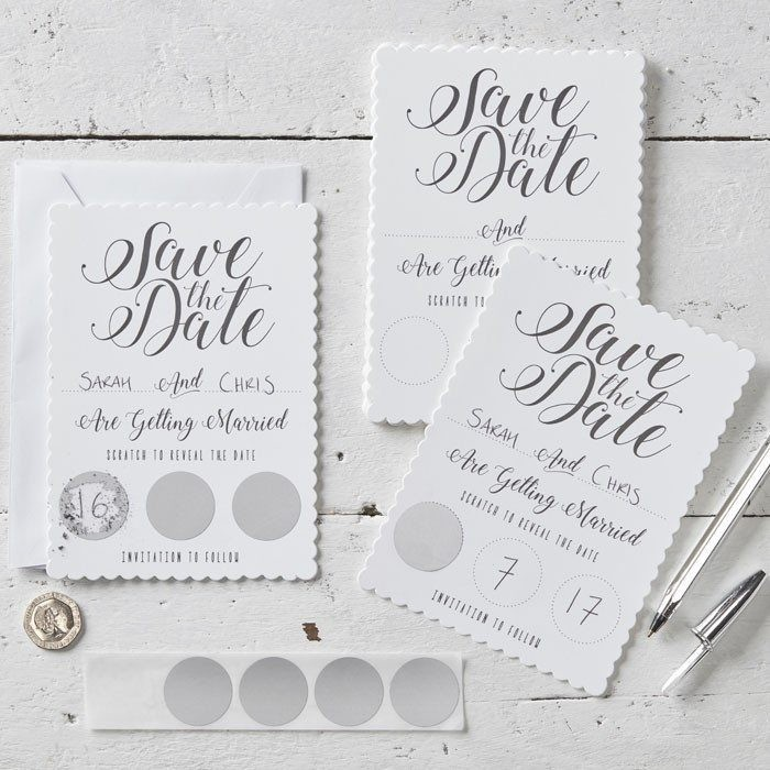 White Scratch Save Date Invitations Scratch Reveal Buy Online