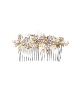 Lilly hair comb with pearls, rhinestones and lace