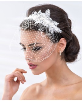 Hair band with pearls and mini veil (BBC119)