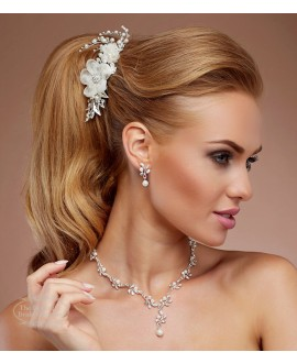 Hair comb with flowers, crystals and pearls 4189