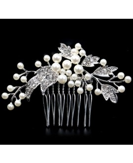 Hair comb with crystals and pearls (54550)