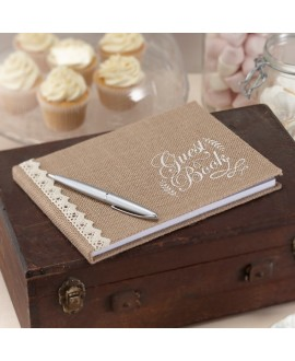 Hessian Burlap Guest Book - Vintage Affair