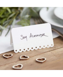 Scalloped White Place Cards - Beautiful Botanics