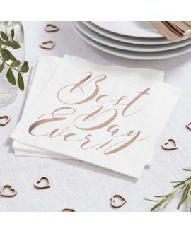 Rose Gold Best Day Ever Napkins - Beautiful Botanics