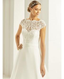 Bolero lace with short sleeve E269 Bianco Evento