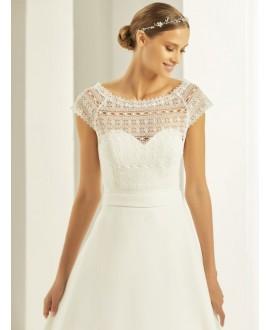 Boho lace Bolero with short sleeves E278 Bianco Evento
