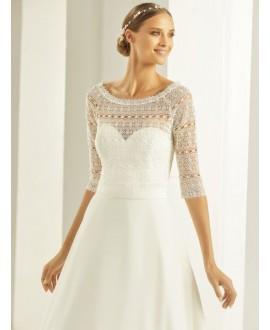 Boho lace Bolero with 3/4 length sleeves E279 Bianco Evento
