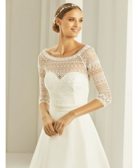 Boho lace Bolero with 3/4 length sleeves E280 Bianco Evento