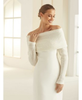 Shrug made of wool E290 Bianco Evento