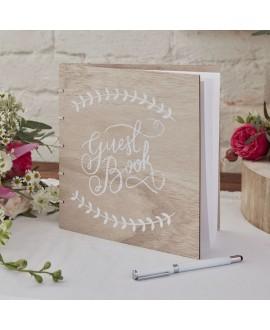 Wooden Guest Book - Boho