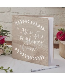 Wooden Advice Guest Book - Boho