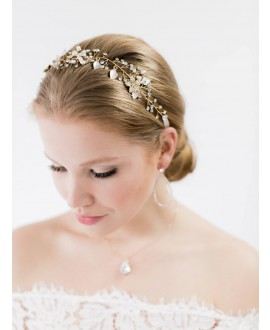 Abrazi Bridal Headband HB-Leaf Rose