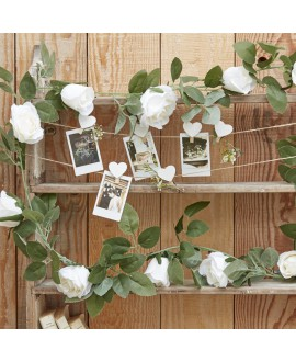 Decorative White Rose Flower Artificial Foliage Garland| Rustic Country