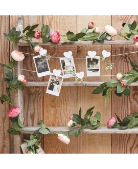 Decorative Pink Rose Flower Artificial Foliage Garland - Rustic Country