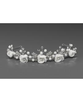 Bridal Tiara with satin flowers, pearls en crystals