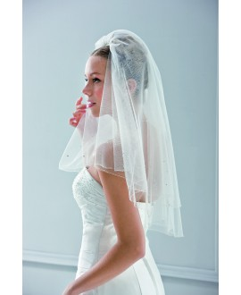 Veil 10054-Ivory-two layers -100 cm (70/30) | Emmerling