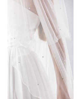 Veil 21781 (crystals)-white-one layer - 150 x 65 cm | Emmerling