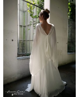 Wedding Poncho with lace S5307 Forever & Eva