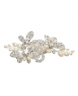 Lilly hair clip with pearls and stras (03-394-SV-0)
