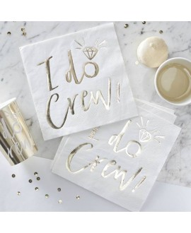 I Do Crew! White/Gold Foiled Paper Napkins (16pcs)