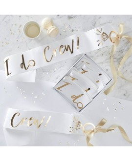 I Do Crew! White and Gold Foiled I Do Crew Sashes (6pcs)