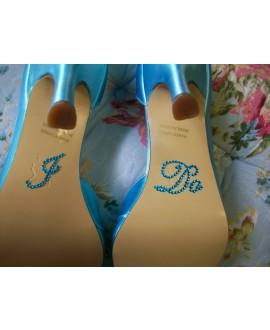 I DO bridal shoe sticker Blue