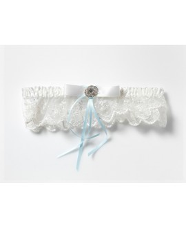 Lace garter finished with satin strap KB-70 Poirier