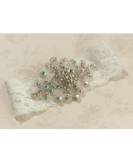 Jeweled Ivory Garter - Lillian Rose