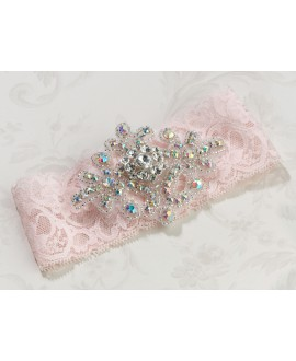 Jeweled pink Garter - Lillian Rose