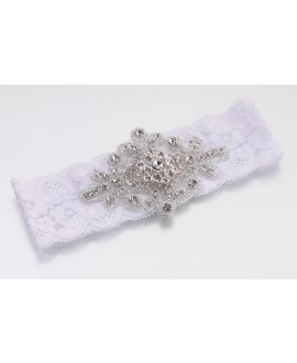 Jeweled White Garter - Lillian Rose