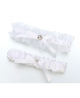 White Satin Rhinestone Wedding Garter Set