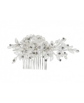 Lilly hair comb with pearls and rhinestones 03-4213-CR-0