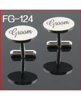 Silver wedding role cufflinks set groom