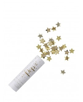 Gold Compressed Air Confetti Cannon Shooter - Metallic Star