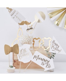 Gold Foiled- Baby Shower- Photo Booth Props | Oh Baby!