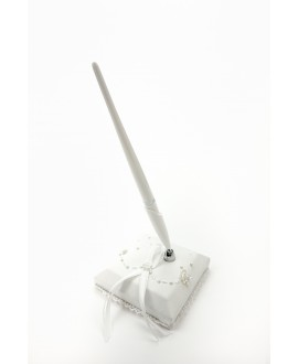 Set of pen and holder white/satin WS-02