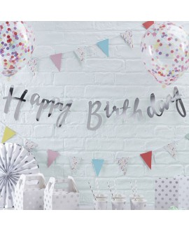 Silver Happy Birthday Bunting | Pick and Mix