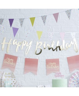 Gold Happy Birthday Bunting | Pick and Mix