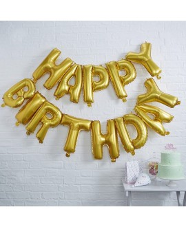Gold Happy Birthday Foil Balloon Bunting | Pick and Mix