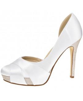 Rainbow Club Wedding Shoes Kelis Pure White Satin