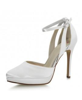 Rainbow Club Wedding Shoes Salma White Satin
