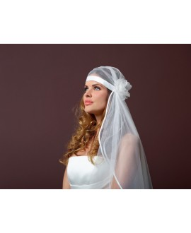 Vintage veil with flower S101-120/1 Poirier