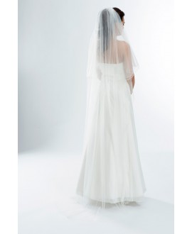 Two layered veil with corded edge S165-Ivory