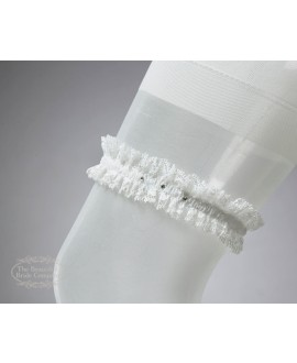 Garter in Ivory with Swarowski crystal