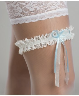 Garter with bow and Swarowski crystal in Ivory & Blue