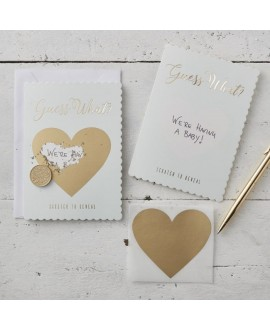 Mint & Gold Guess What Scratch Greeting Cards - Scratch & Reveal