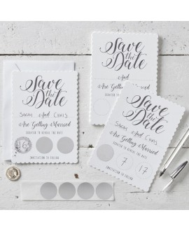 White Scratch & Save Date Invitations - Scratch & Reveal