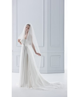 Veil 21781 (crystals)-Ivory-two layers -100 cm | Emmerling