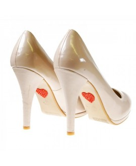 Red Heart bridal shoe sticker