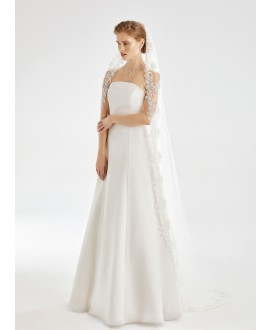 Veil with lace edge S202 | Bianco Evento